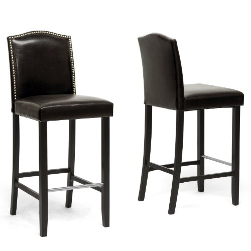 (Baxton Studio Set of 2 BBT5111 Bar Stool-Brown Bar Stool 2-Piece Set, Brown)