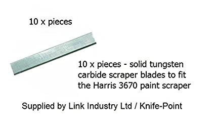 Pack of 10 x pieces - tungsten carbide scraper blades to fit the LG Harris  3670 Contractor scraper - brand new  Supplied by Link Industry Ltd /