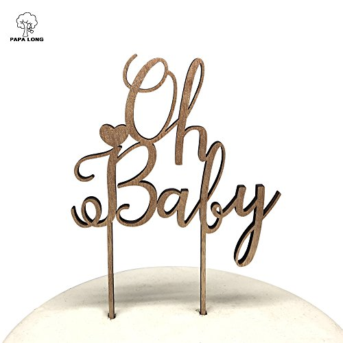 PAPALONG Design Wood Oh Baby Cake Topper For Baby Shower -BABY Boy Baby Girl by PAPALONG