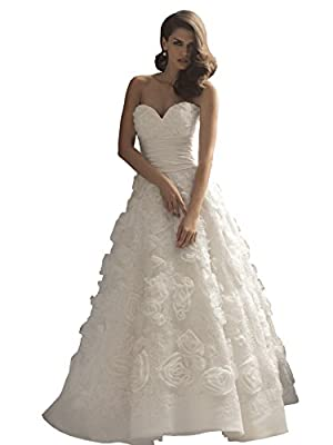Allure Bridals Couture C157 Strapless Sweetheart Rosette Ruffle Wedding Dress