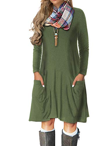 - VOIANLIMO Women's Plus Size Casual Loose T Shirt Long Sleeve Mini Dress with Pockets (2X Plus, A-ArmyGreen)