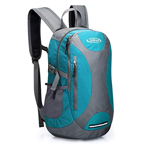 G4Free 25L Hiking Camping Backpack Water Resistant Medium Daypack Multipurpose Daily Bag Pack with Chest Waist Strap for Vacation Trip Disneyland for Man Women (Peacock Blue/Gray) ()
