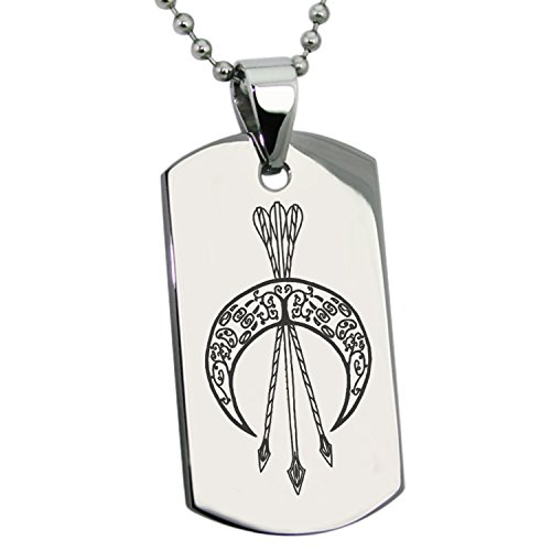 Tioneer Stainless Steel Artemis Greek Goddess of Moon Symbol Engraved Dog Tag Pendant -