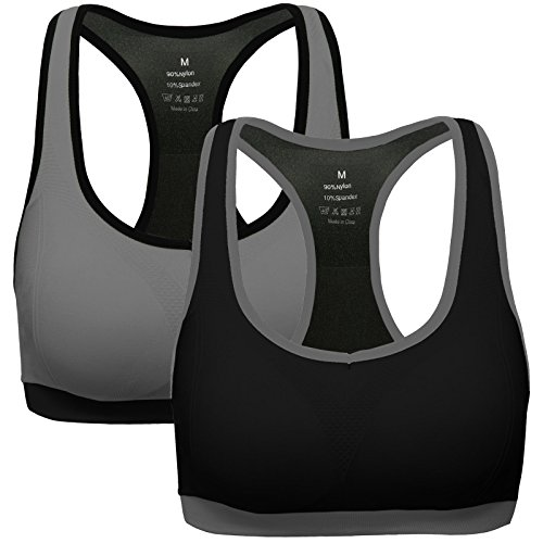Mirity Women Racerback Sports Bras – Medium Impact Workout Gym Activewear Bra Color Black Grey Size S