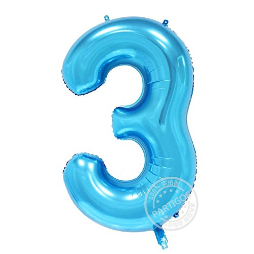 Partigos 40inch blue number digital Aluminum Foil Helium Balloon for Birthday Party, Anniversary Party Decoration figure globos (Number Balloons Green)