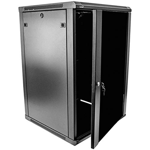 Navepoint 18U Deluxe IT Wallmount Cabinet Enclosure 19-Inch Server Network Rack with Locking Glass Door 24-Inches Deep Black ()