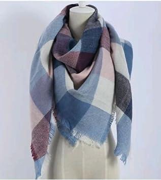 db3b5c189ff0 Triangle Bleu rose Écharpe d hiver Femme Châle Pashmina Cape Plaid Foulard