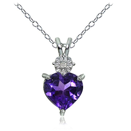Sterling Silver African Amethyst Heart Drop Necklace