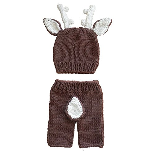 Evelin LEE Newborn Baby Photography Props Deer Outfits Lovely Boy Crochet Knitted Hat Pant Girl -