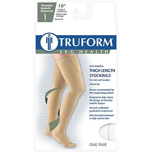 Truform Closed Toe, Thigh High 18 mmHg Anti-Embolism Stockings, White, X-Large by Truform (Image #4)
