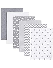 Burp Cloths 6 Pack Large 100% Cotton Washcloths Double Layered Burping Cloths Extra Absorbent and Soft for Boys and Girls by Comfy Cubs (Grey Pattern, Pack of 6)