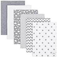 Burp Cloths 6 Pack Large 100% Cotton Washcloths Double Layered Burping Cloths Extra Absorbent and Soft for Boy