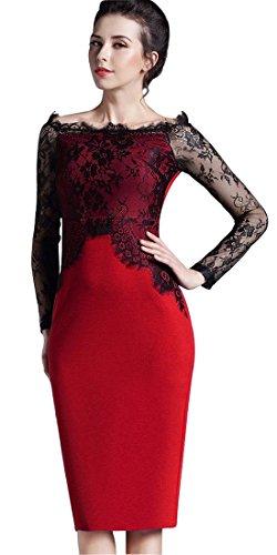 Homeyee de la mujer elegante encaje manga larga ronda cuello delgado vestido corto formal Vintage Lápiz Vestido O803 Rosso