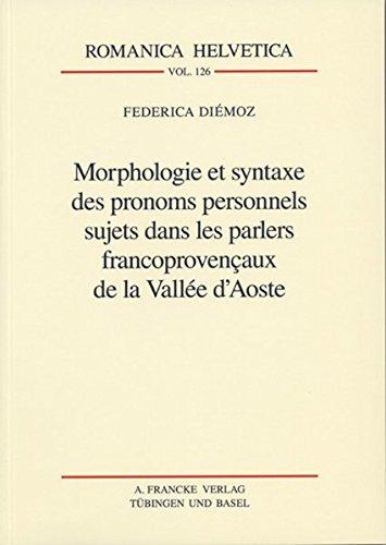 Morphologie et syntaxe des pronoms personnels sujets: 9783772082252: Amazon.com: Books
