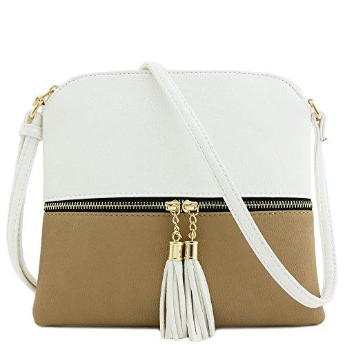 Lightweight Medium Crossbody Bag with Tassel (White/Taupe)
