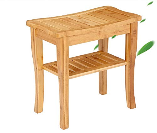 Lrg Image (OUTDOOR DOIT Bamboo Shower Bench Seat with Storage Shelf, Spa Stool Bath, Bamboo Shower Stool Corner, Bathroom Accessory Sets for Indoor Outdoor Home Kitchen Garden)