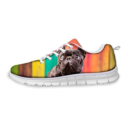 Hugs Idea Hugsidea Womens Fashion Casual Sneakers Animali Stampati Scarpe Da Corsa Bulldog Francese
