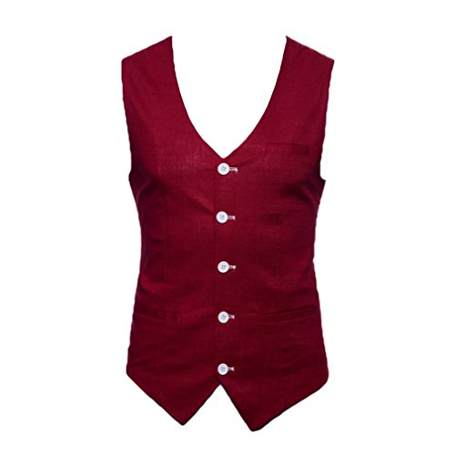 Maschile Gilet Rosso Moda Groom V Business Cotone Vest Formale Uomo Libero Fangcheng Fit Nero Dress Scollo Vino Tempo Autunno Slim A 0wRfpd1q