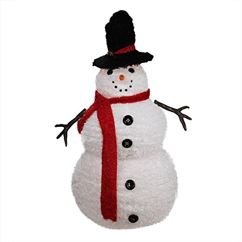 Penn 4' Lighted 3-D Chenille Winter Snowman with Top Hat Outdoor Christmas Yard Art Decoration