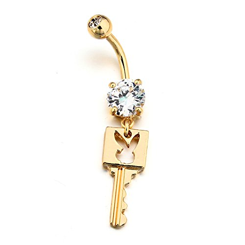 [Vcmart Belly Button Rings 14K Gold Plated Rabbit Key Dangle with White CZ Navel Ring Body Piercing] (14k Crystal Belly Button Ring)