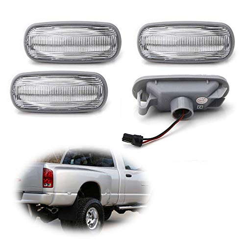 - iJDMTOY Clear Lens Amber/Red Full LED Trunk Bed Marker Lights Set For 2003-09 Dodge RAM 2500HD 3500HD Truck Double Wheel Side Fenders, Powered by Total 48 LED