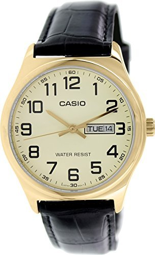 db608e4d6 Casio #MTP-V00GL-9B Men's Standard Analog Gold Tone Leather Band Day Date  Watch
