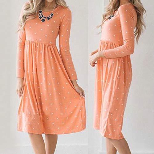 JESPER Women Swing Casual Dot Printing Round Neck Dress Long Sleeve Evening Party Dress Orange by JESPER (Image #5)