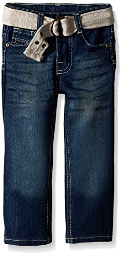 U.S. Polo Assn. Little Boys' Belted Slim Straight 5 Pocket Jeans, Medium Safety Blue, 5