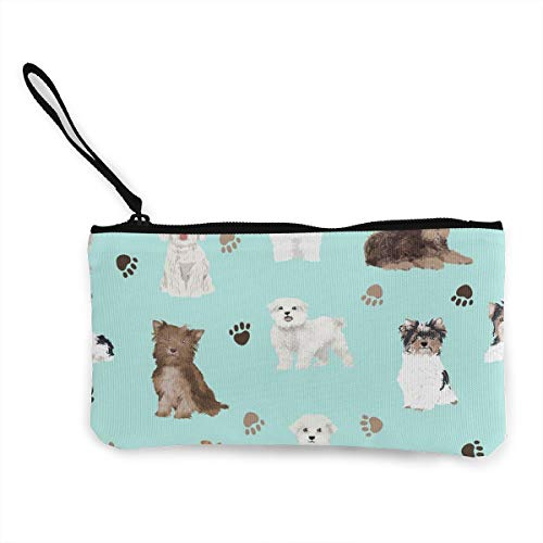 Women's Wristlet Wallet Clutch for Smartphones with Wrist Strap Card Coin Purse Case - Chocolate Yorkie Maltese Biewer Terriers Cute Toy Dogs