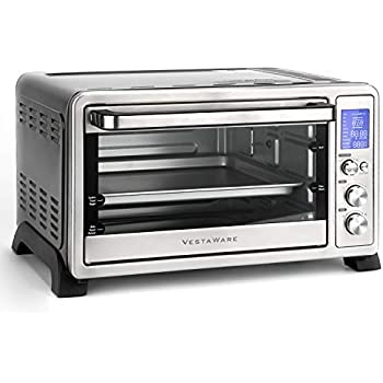 Vestaware Toaster Oven, 27QT Hot Convection & Rotisserie Oven with 10 Presets & 6 Accessories, Baking Pan Broil Rack Rotisserie Fork and Crumb Tray, Non-stick interior, Stainless Steel Countertop Ovens