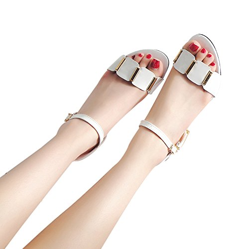 TnaIolral Ladies Sandals Ankle Mid Heel Block Party Open Toe Shoes (US:6.5, White)