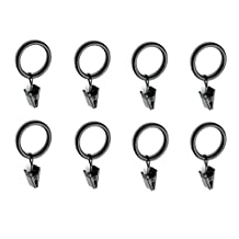 """Black 32 Total) Metal Curtain Rings with Clips (1"""" Diameter) - Clip Rings for Curtains"""