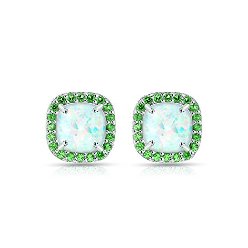 Sterling Silver Simulated White Opal and Emerald Cushion-cut Halo Stud Earrings