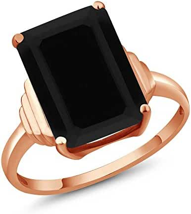 5.00 Ct Octagon Black Onyx 18K Rose Gold Ring