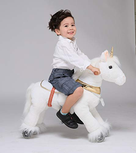 - UFREE Horse Best Birthday Gift for Girls.Action Unicorn Toy, Rocking Horse with Wheels Giddy up Ride on for Kids Aged 3 to 6 Years Old, Amazing Birthday Surprise,Unicorn with Golden Horn