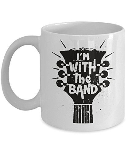I'm With The Band Distressed Guitar Headstock Coffee & Tea Gift Mug, Rock Groupies Merch, Gifts for Guitarists (11oz)