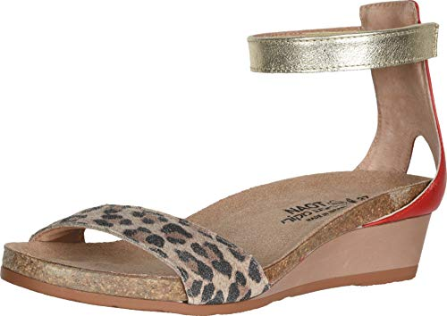 NAOT Women's Pixie Wedge Cheetah/Kiss Red/Gold Leather 8 M US