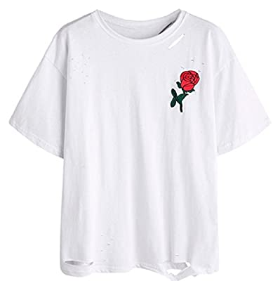 TAORE Women Summer Casual T-Shirt, Embroidery Hole Crew Neck Short Sleeve Shirt Blouse