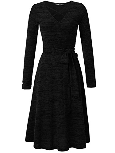 JayJay Women Casual Caged Neck Long Sleeve Knit Sweater Faux Wrap Dress With Bow Belt,Black,L