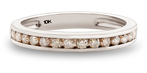 0.51Ct Channel Set Natural Brown Diamond Half Eternity Anniversary Ring, 10k White Gold, Size 7 -