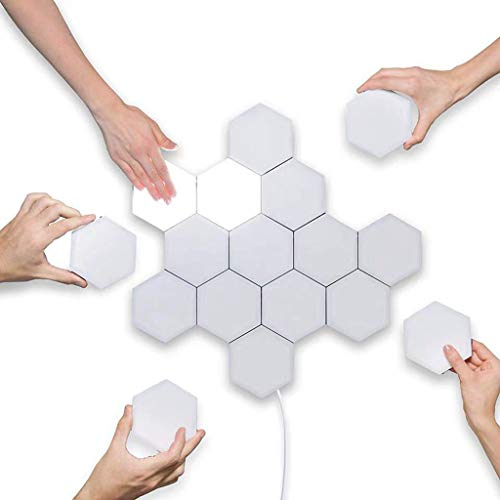 WXX Quantum Light Led Hexagonal Lamps Modular Touch Sensitive Lighting Night Light Magnetic Hexagons Creative Decoration Wall(Optional Specification),10Pcs