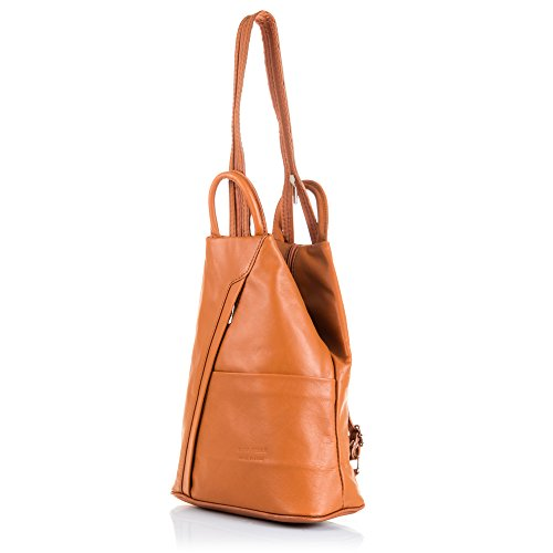 FIRENZE ARTEGIANI.Mochila de mujer casual piel auténtica.Mochila casual cuero genuino Tamponato.Day pack piel.Asa y correa hombro. MADE IN ITALY. VERA PELLE ITALIANA. 24x31x14 cm. Color: LEATHER