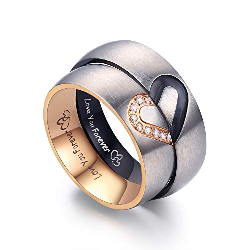 LAVUMO Matching Promise Rings for Couples Love You Forever Wedding Bands Sets for Him and Her Half Heart Rings Stainless Steel 6mm with Box Comfort Fit (Men 10 & Women 4)