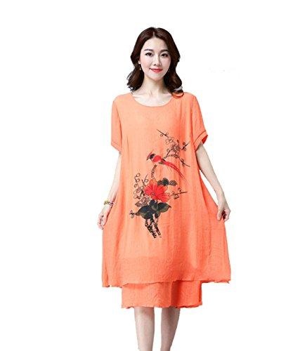 Vestido Nacional Del Viento Alrededor Del Cuello De Algodón Señorita Xia Ji Multicolor De Varios Tamaños Orange