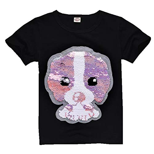 Tsyllyp Boys Girls Dog Magic Sequin T-Shirts Crewneck Short Sleeve Casual Tops