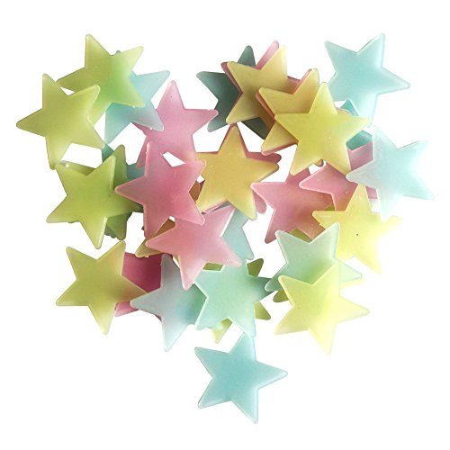 EUBUY 100 Pcs Glow in the Dark Star Shining Luminous Stars Wall Stickers Decals Star for Bedroom Decoration Colorfull