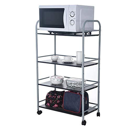 TANGON Industrial All-Purpose 4 Tier Wire Mesh Storage Rolling Cart with Leveling Feet to Convert The Wheeled Cart into Static Rack for Microwave Home Office Organization Kitchen Bathroom Cart (A)