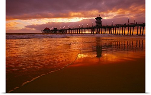 GREATBIGCANVAS Entitled Huntington Beach at Sunset, California, USA Poster Print, 24
