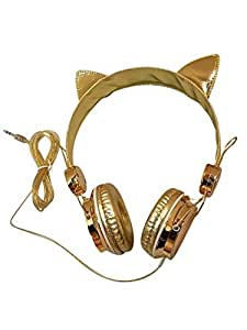 Gold Cat Ear Headphones Fancy Over-Ear Gaming Headset Compatible with iPhone, Android and Computers