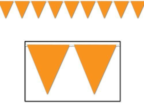 Fun Express - 100 Ft Orange Pennant Banner Flags Party (Weather Pennant Banner)